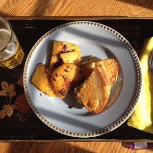 Methinks this be Rutabaga and Grilled Cheese. I remember that I ate this because everything was yellow.
