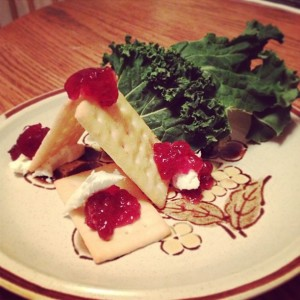 Club crackers topped with goat cheese & lingonberry jam, served a long side a big floofy bit of kale.
