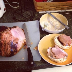 High Effort Bagel Sandwich. Ham basted in pickle brine & a horseradish cream cheese.