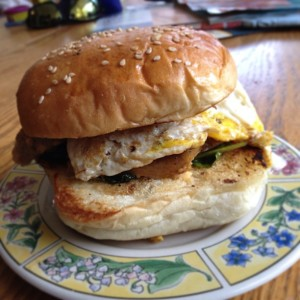 This is where the Sausage in Coffee-Water ended up: fried egg sandwich, with spinach cooked in bacon grease, and a shallot & balsamic marinade I had leftover from...something...